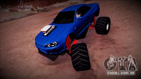 Nissan Skyline R34 Monster Truck para GTA San Andreas vista traseira