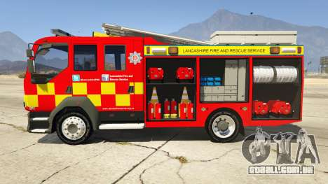 GTA 5 DAF Lancashire Fire & Rescue Fire Appliance vista lateral esquerda