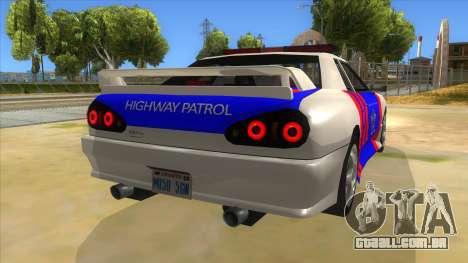 Elegy NR32 Police Edition White Highway para GTA San Andreas vista direita