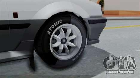 GTA 5 Karin Futo Rally Car v2.0 para GTA San Andreas traseira esquerda vista
