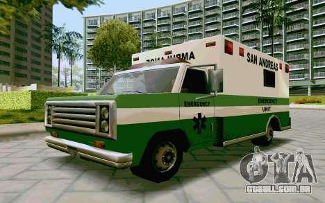Journey Ambulance para GTA San Andreas traseira esquerda vista
