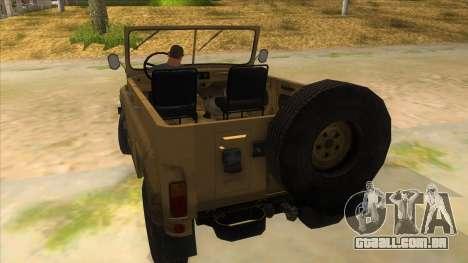 UAZ-469 Desert para GTA San Andreas traseira esquerda vista