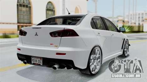 Mitsubishi Lancer Evolution X GSR Full Tunable para GTA San Andreas esquerda vista