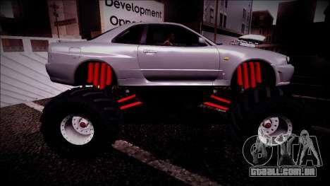 Nissan Skyline R34 Monster Truck para GTA San Andreas vista inferior
