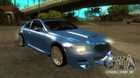 BMW M6 Full Tuning para GTA San Andreas vista traseira