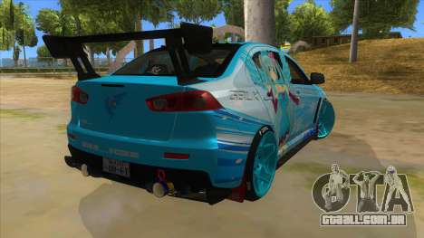 Mitsubishi Lancer Evolution X Koi-chan Itasha para GTA San Andreas vista direita