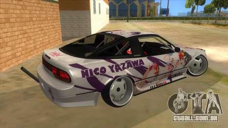 Nissan 240SX Stance Nico Yazawa Itasha Livery para GTA San Andreas vista direita