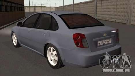 Chevrolet Lacetti Sedan para GTA San Andreas esquerda vista