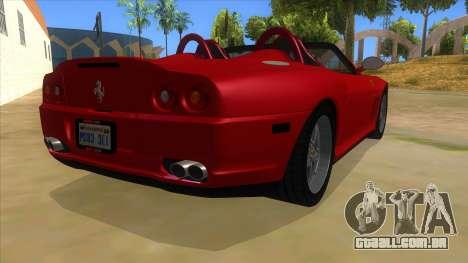 Ferrari 550 Barchetta Pinifarina US Specs 2001 para GTA San Andreas vista direita