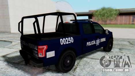 Ford F-150 2015 Policia Federal para GTA San Andreas traseira esquerda vista
