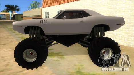 1971 Plymouth Hemi Cuda Monster Truck para GTA San Andreas esquerda vista