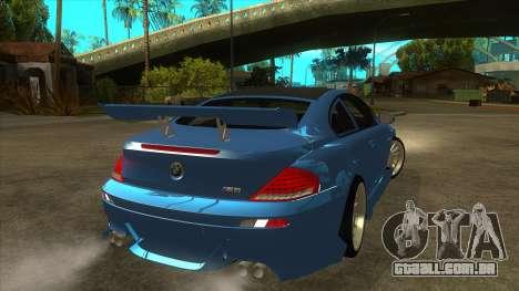 BMW M6 Full Tuning para GTA San Andreas vista direita