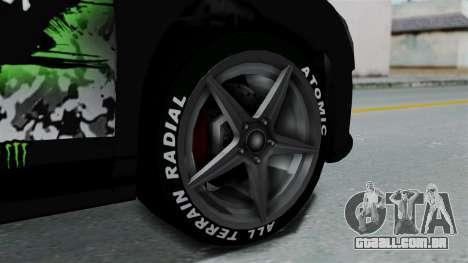 GTA 5 Obey 9F Monster para GTA San Andreas traseira esquerda vista