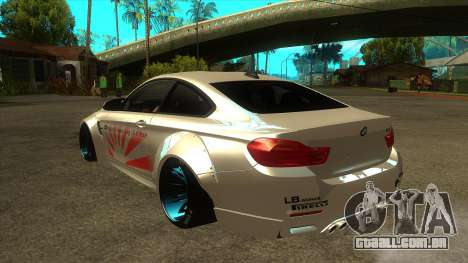 BMW M4 Liberty Walk Performance para GTA San Andreas traseira esquerda vista