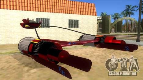 StarWars Anakin Podracer para GTA San Andreas vista traseira