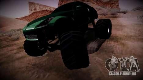 Nissan 350Z Monster Truck para GTA San Andreas traseira esquerda vista