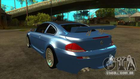 BMW M6 Full Tuning para GTA San Andreas traseira esquerda vista