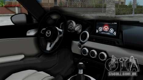 Mazda MX-5 Miata 2016 para GTA San Andreas vista direita