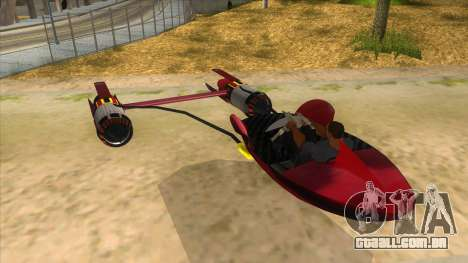 StarWars Anakin Podracer para GTA San Andreas traseira esquerda vista