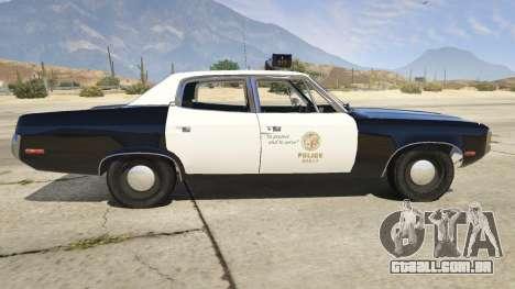 GTA 5 1972 AMC Matador LAPD vista lateral esquerda
