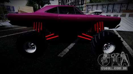 1969 Plymouth Road Runner Monster Truck para GTA San Andreas traseira esquerda vista