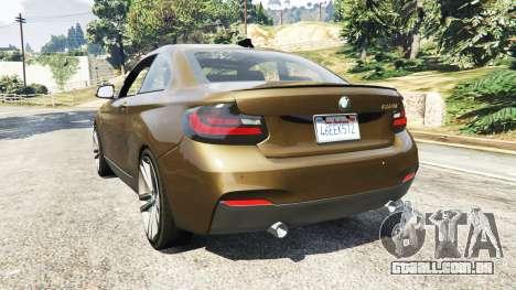 GTA 5 BMW M235i Coupe traseira vista lateral esquerda