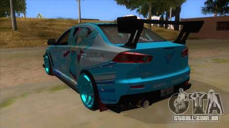 Mitsubishi Lancer Evolution X Koi-chan Itasha para GTA San Andreas traseira esquerda vista
