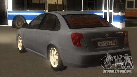 Chevrolet Lacetti Sedan para GTA San Andreas traseira esquerda vista