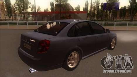 Chevrolet Lacetti Sedan para GTA San Andreas vista direita