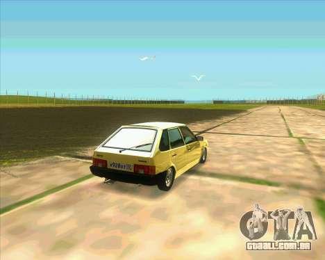 VAZ 2109 BUNKER para GTA San Andreas traseira esquerda vista