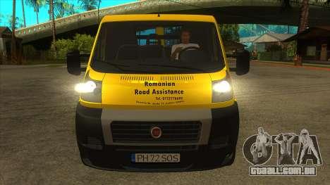 Fiat Ducato Road Asisstance para GTA San Andreas vista interior