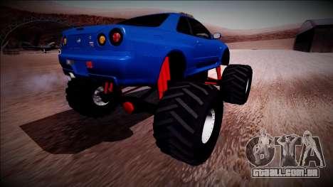 Nissan Skyline R34 Monster Truck para GTA San Andreas vista direita