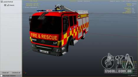 GTA 5 DAF Lancashire Fire & Rescue Fire Appliance vista lateral direita