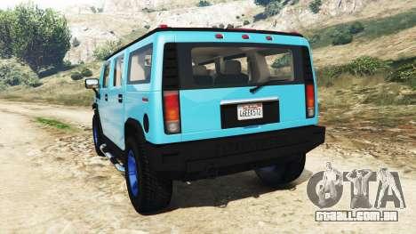 GTA 5 Hummer H2 2005 [matiz] v2.0 traseira vista lateral esquerda