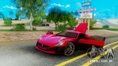Rimac Concept One para GTA San Andreas esquerda vista