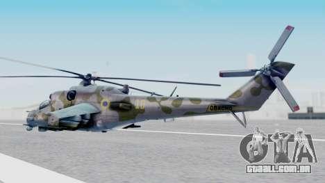 Mi-24V Ukraine Air Force 010 para GTA San Andreas esquerda vista