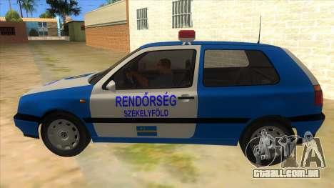 Volkswagen Golf 3 Police para GTA San Andreas esquerda vista