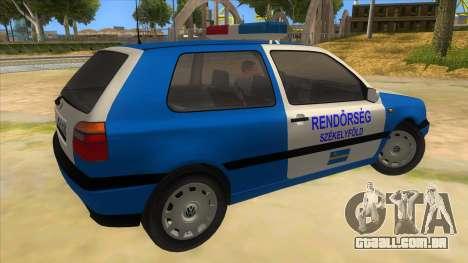 Volkswagen Golf 3 Police para GTA San Andreas vista direita