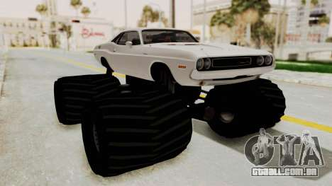Dodge Challenger 1970 Monster Truck para GTA San Andreas traseira esquerda vista