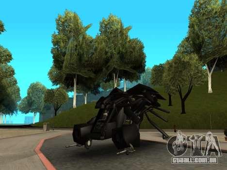 The Dark Knight Rises BAT v1 para GTA San Andreas vista traseira