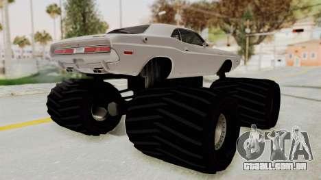 Dodge Challenger 1970 Monster Truck para GTA San Andreas esquerda vista