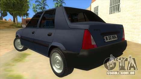 Dacia Solenza V2 para GTA San Andreas traseira esquerda vista