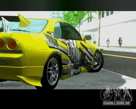 Nissan R33 GT-R Tunable para GTA San Andreas traseira esquerda vista