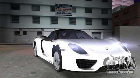 2016 Porsche 918 Spyder Weissach Package para GTA Vice City vista interior