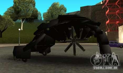 The Dark Knight Rises BAT v1 para GTA San Andreas esquerda vista