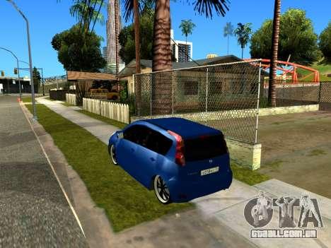 Nissan Note KURMIN StreetRacer para GTA San Andreas vista traseira