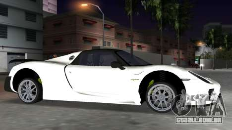 2016 Porsche 918 Spyder Weissach Package para GTA Vice City vista traseira