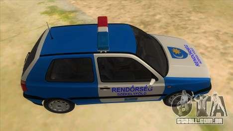 Volkswagen Golf 3 Police para GTA San Andreas vista interior