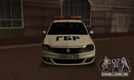 Renault Logan Security Service para GTA San Andreas traseira esquerda vista