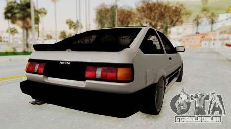 Toyota AE86 Sprinter Trueno para GTA San Andreas traseira esquerda vista